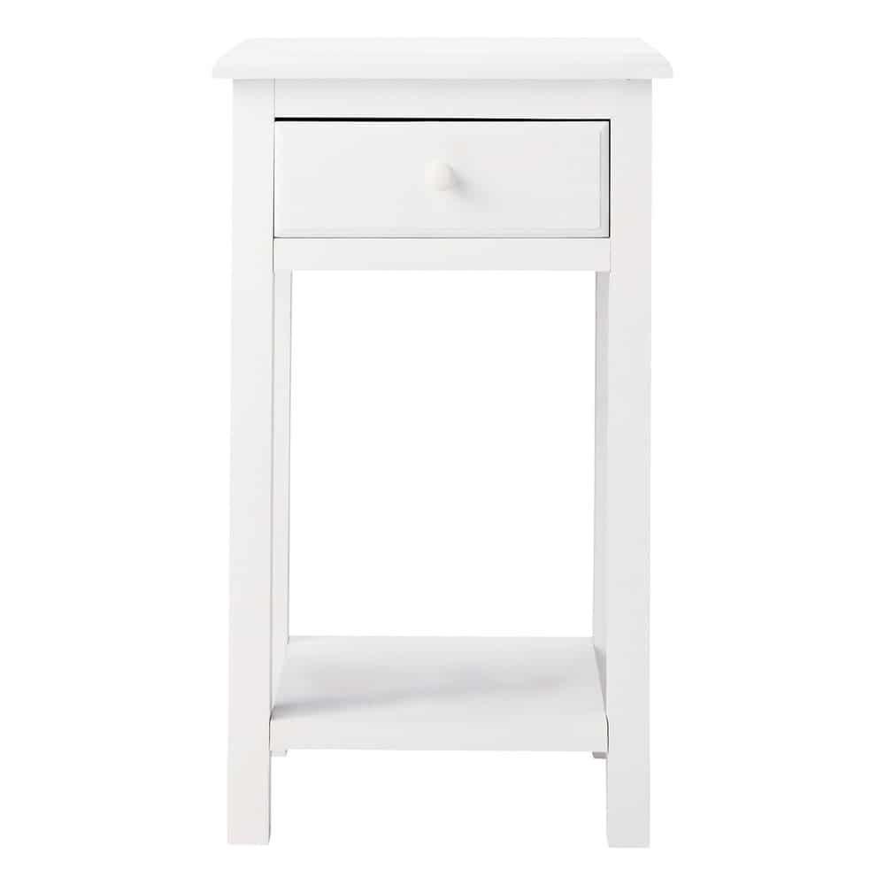table de chevet avec tiroir en bois blanc l 35 cm pastel maisons du monde