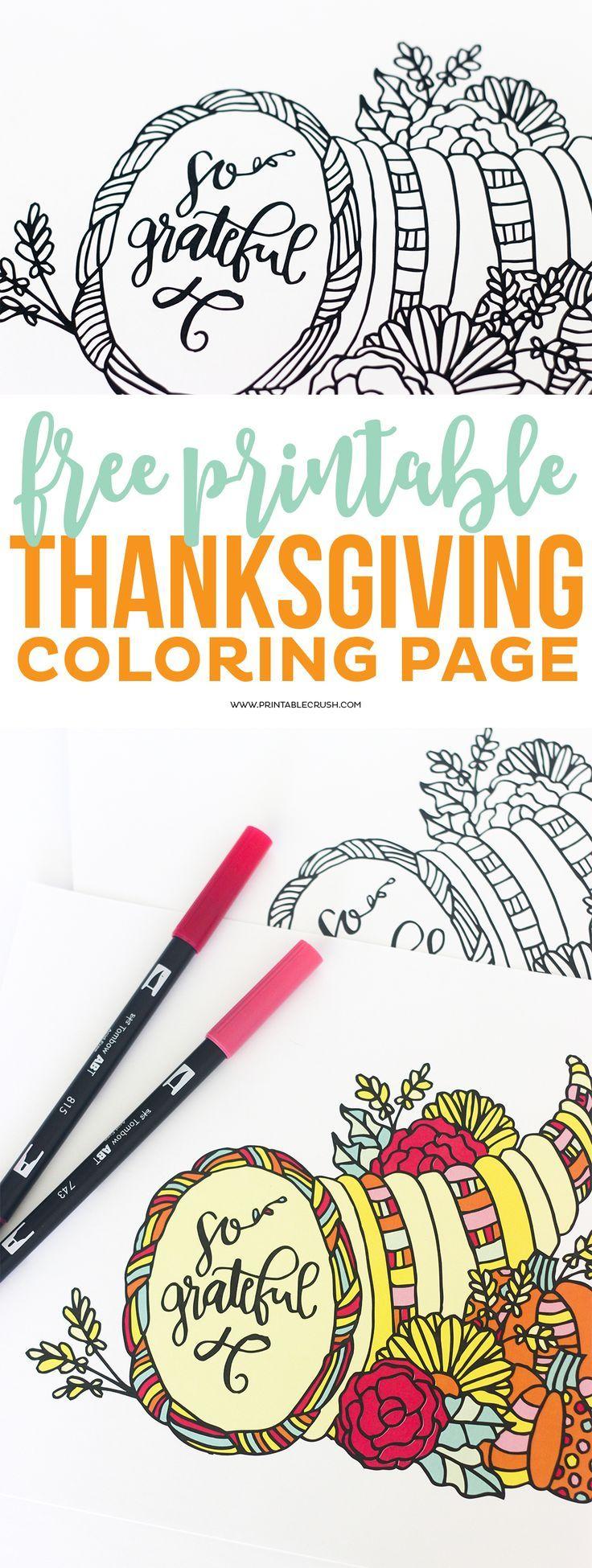 FREE Printable Thanksgiving Coloring Page | Ausmalbilder erwachsene ...