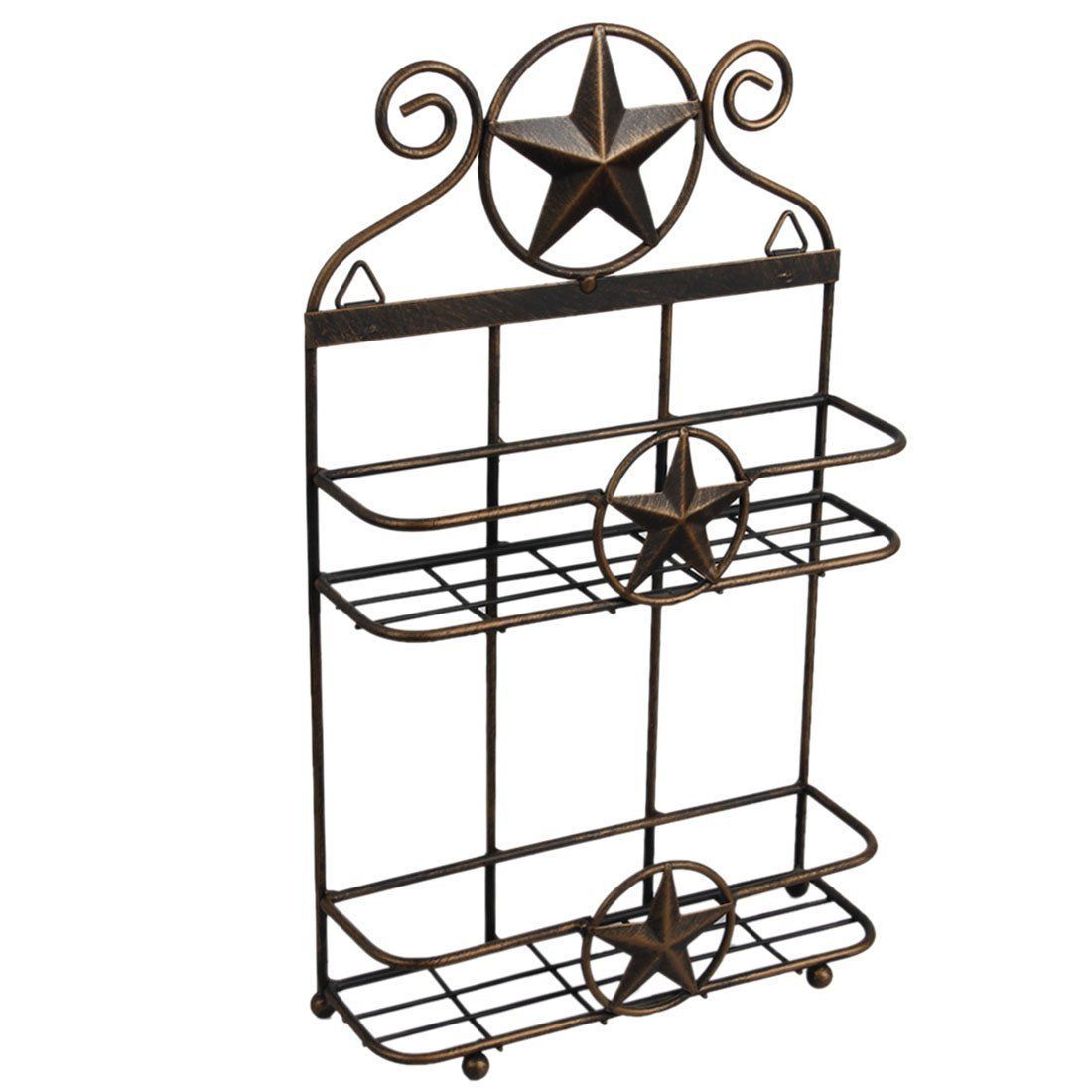 Vintage Metal Texas Decor 2 Tier Shelf Rustic Star Home