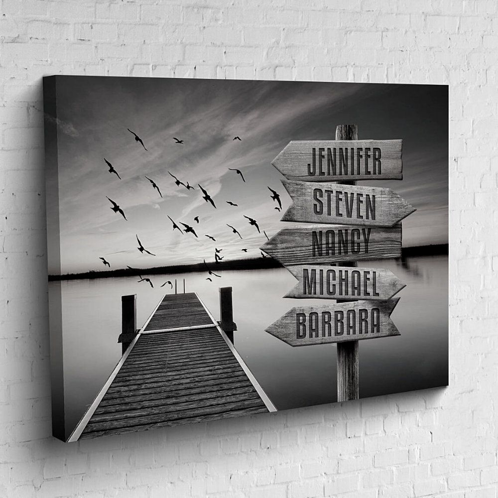 Personalized Canvas Multi Names Sign Lake Dock Custom Canvas Etsy Personalized Canvas Wall Art Custom Canvas Personalised Canvas