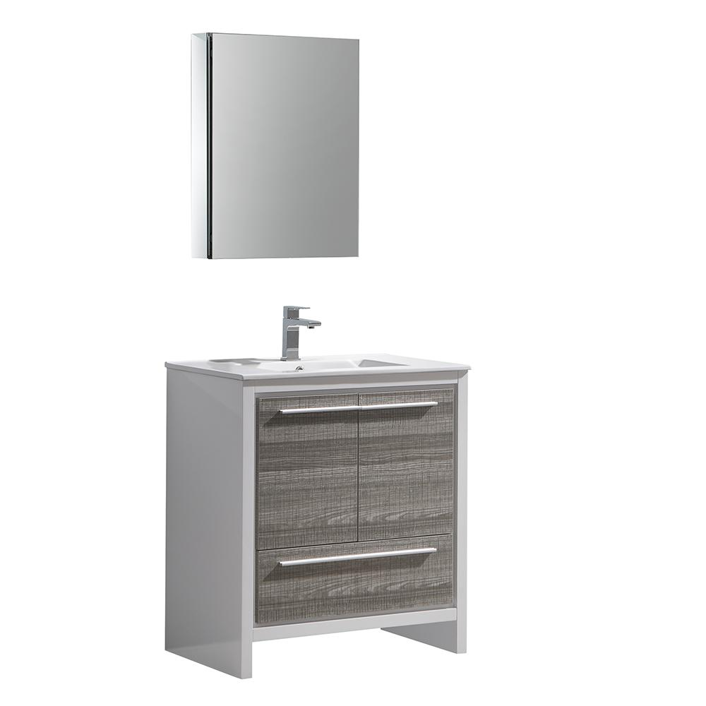 Photo of Fresca Allier Rio 30 in. Modern Bathroom Vanity in Ash Gray with Ceramic Vanity Top in White and Medicine Cabinet-FVN8130HA – The Home Depot