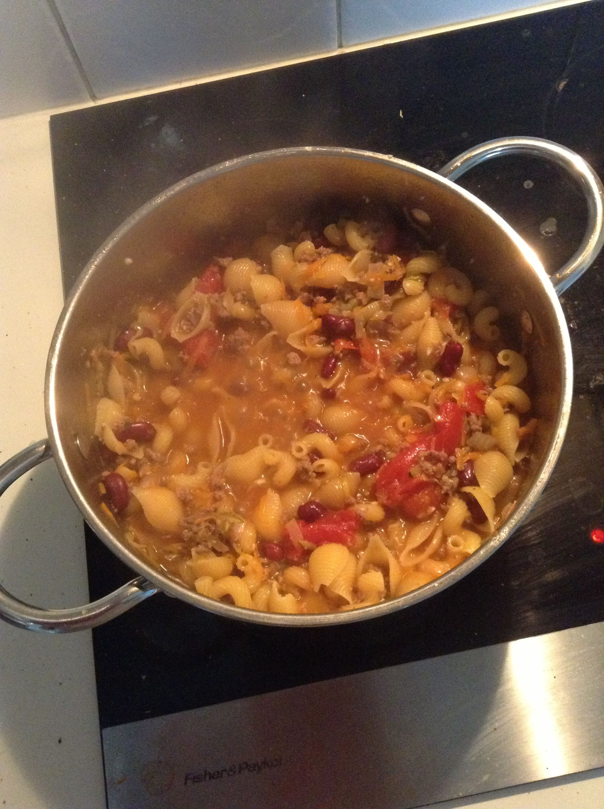 Nigella's One Pot Beef and Beans with Pasta. So delicious