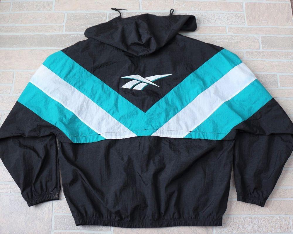 bbb763e7f Vintage REEBOK Windbreaker Mens Large Black Teal Nylon Zip Jacket ...