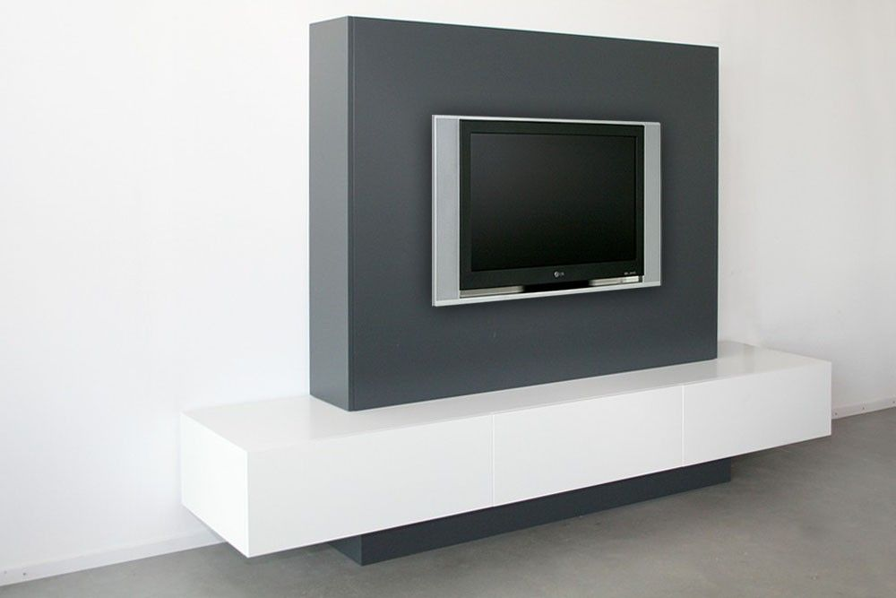 tv kast. kino tv kast met zijdeuren lak wit ral 9010/lak antraciet 7016 - designsales tv t