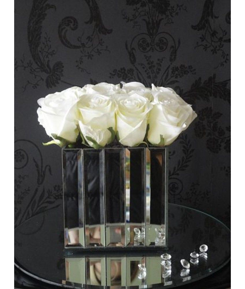 White rose heads in a cube mirrored vase 80s auction waverly white rose heads in a cube mirrored vase reviewsmspy