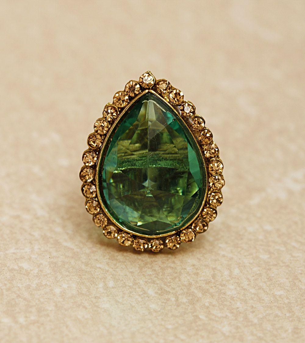 Green Crystal Embellished Ring