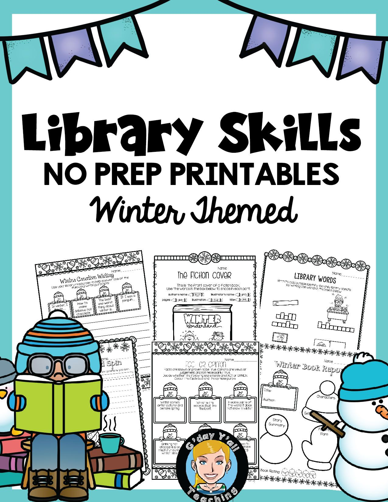 Library No Prep Printables Winter Themed