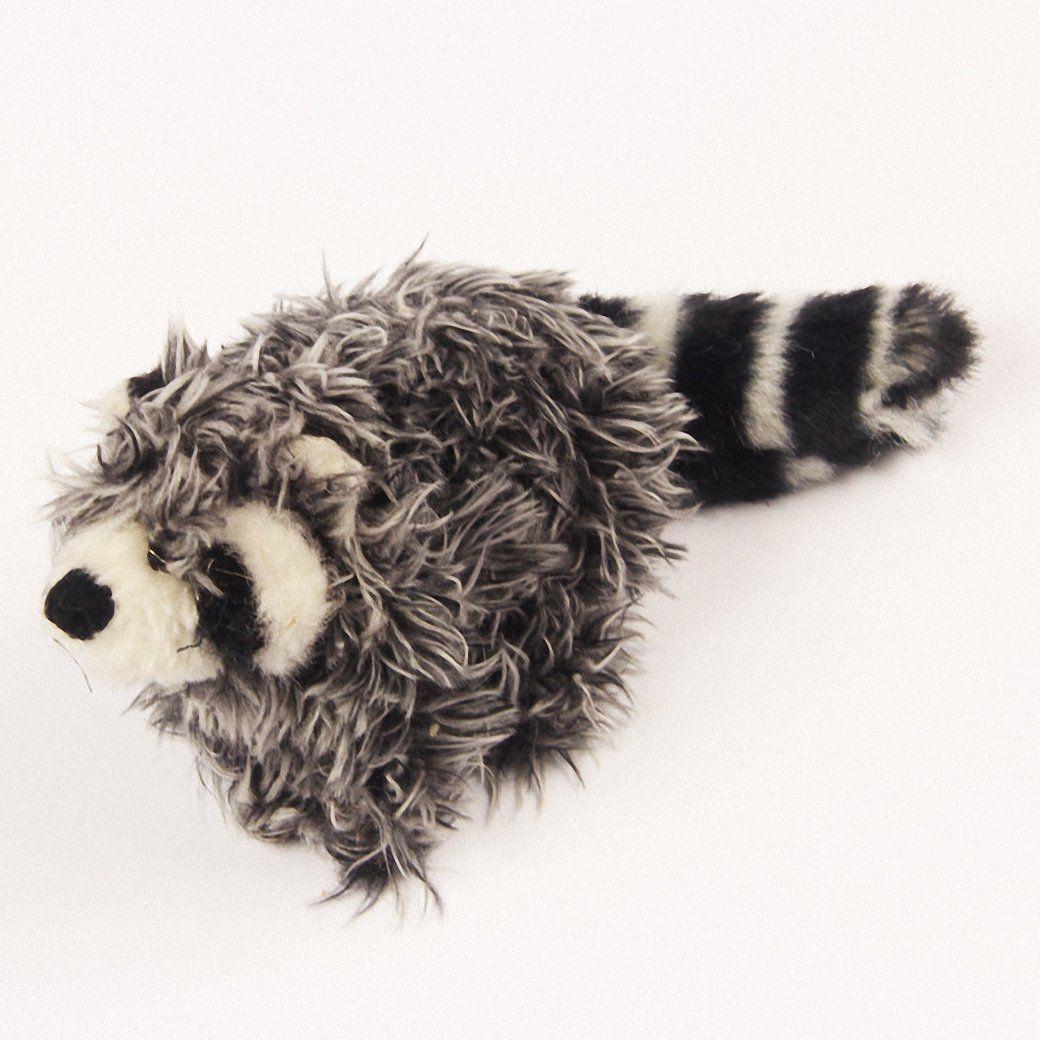 Drecratart 9 5 Plush Dog Durable And Squeaky Toys Grey Raccoon