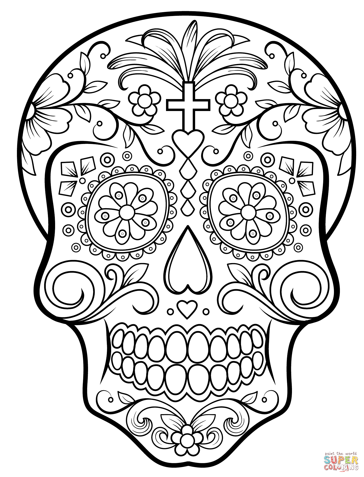 Sugar Skull Skull Coloring Pages Sugar Skull Drawing Skull Template