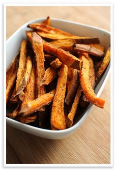 Baked Sweet Potato Fries: I have made these the past 2 days and they are to DIE FOR!!!! You can use half the oil, too :)