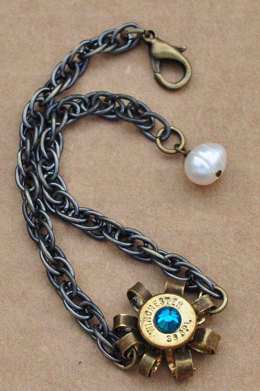 second amendment bullet casing bracelet, freshwater pearl
