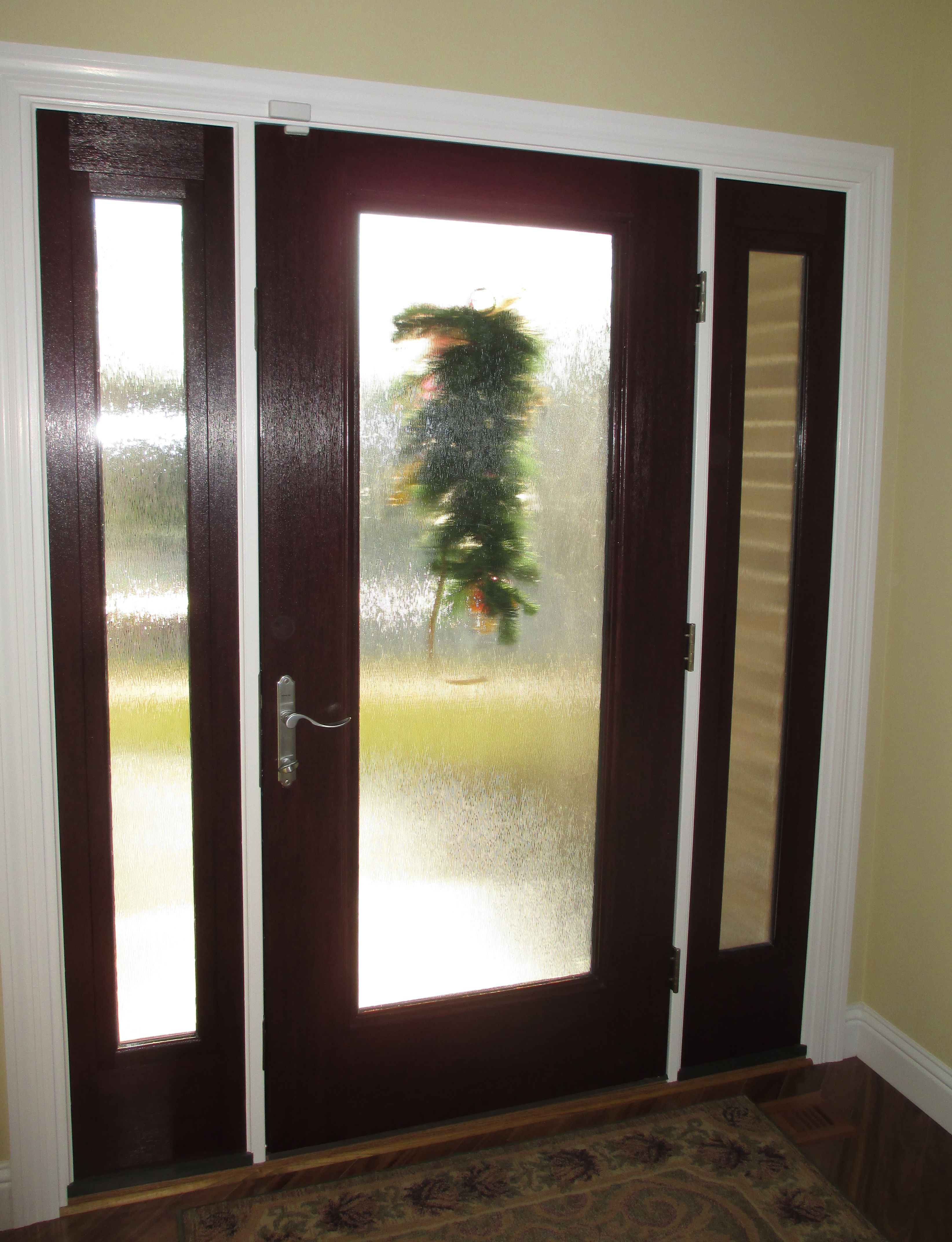 St Charles front entry door Stained fiberglass door with
