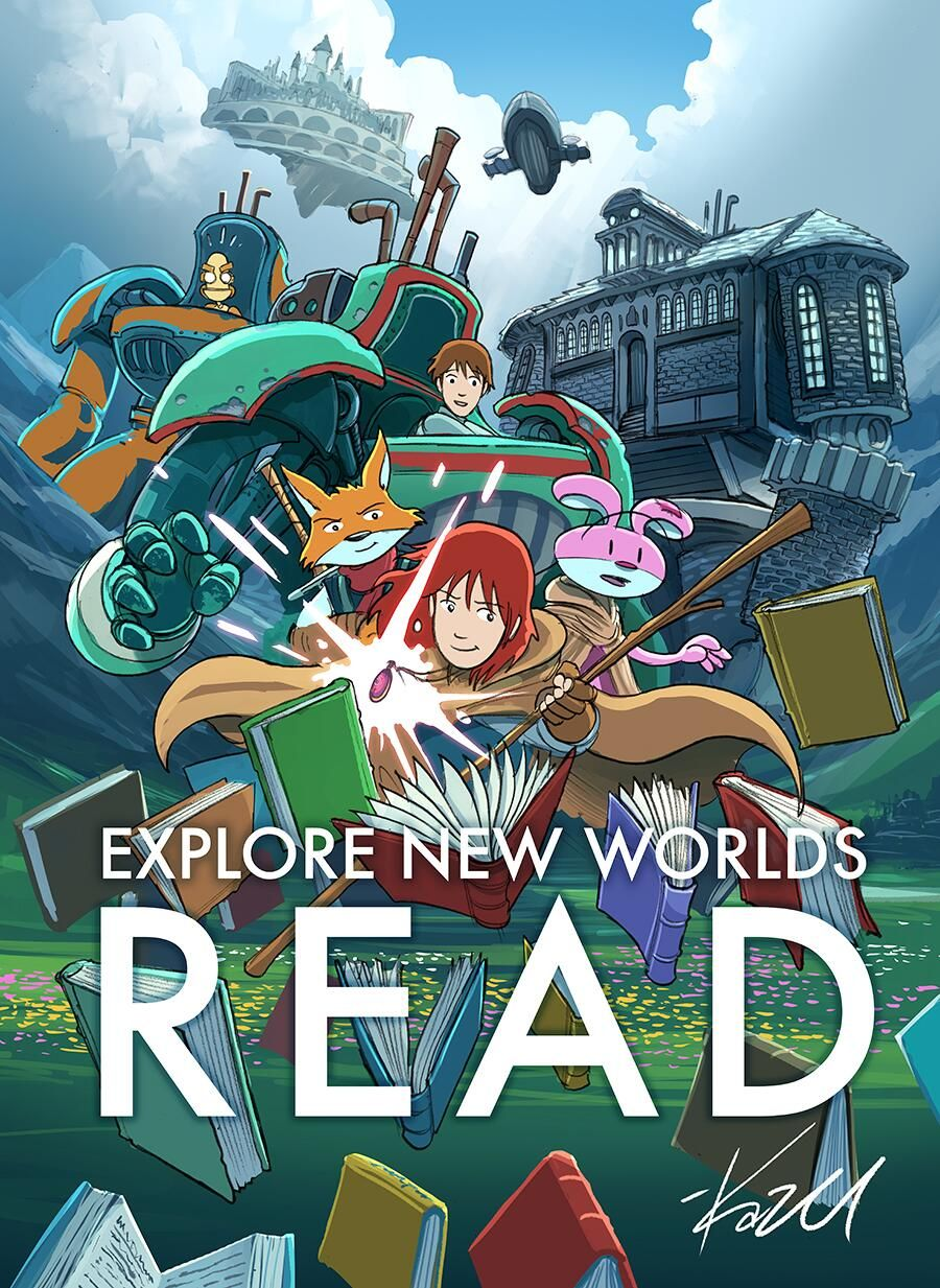 Explore New Worlds Read By Kazu Kibuishi Amulet Themed Poster For This Year S Ala Reads Campaign Available Sept Mo Library Posters Reading Posters Amulet