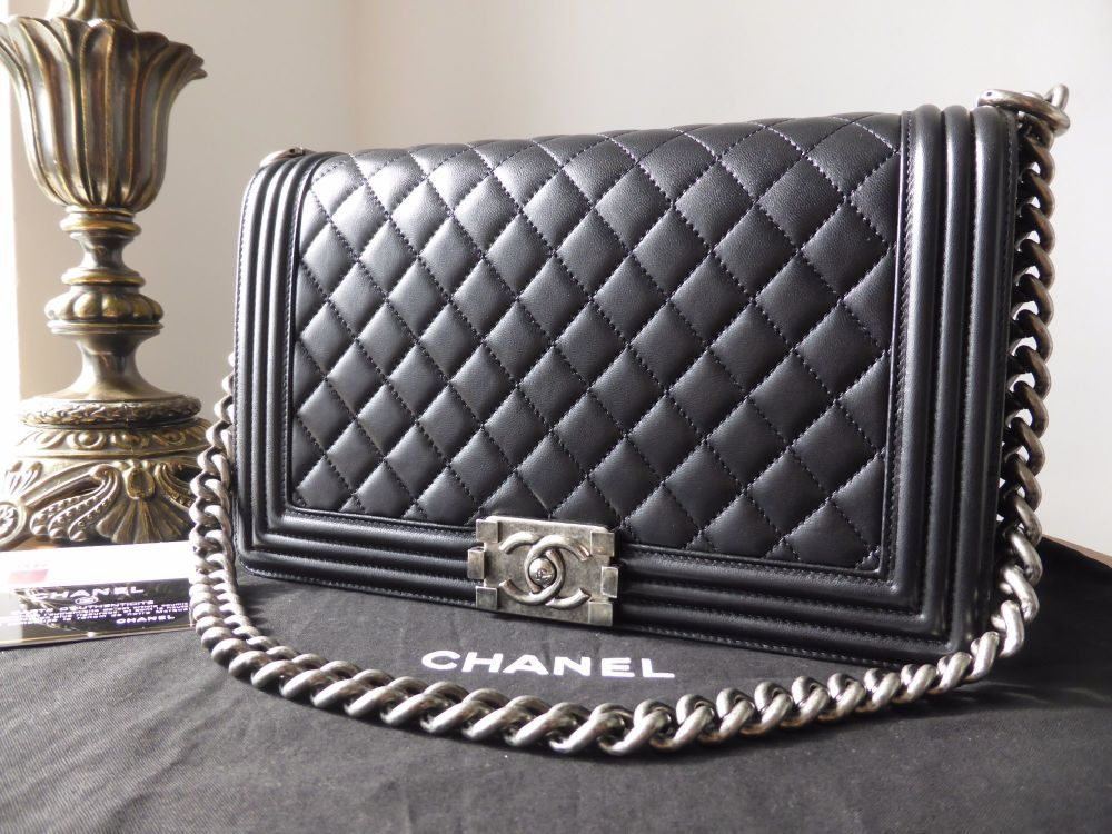 a656fd19 Chanel New Medium Boy Bag in Black Lambskin with Ruthenium Hardware ...