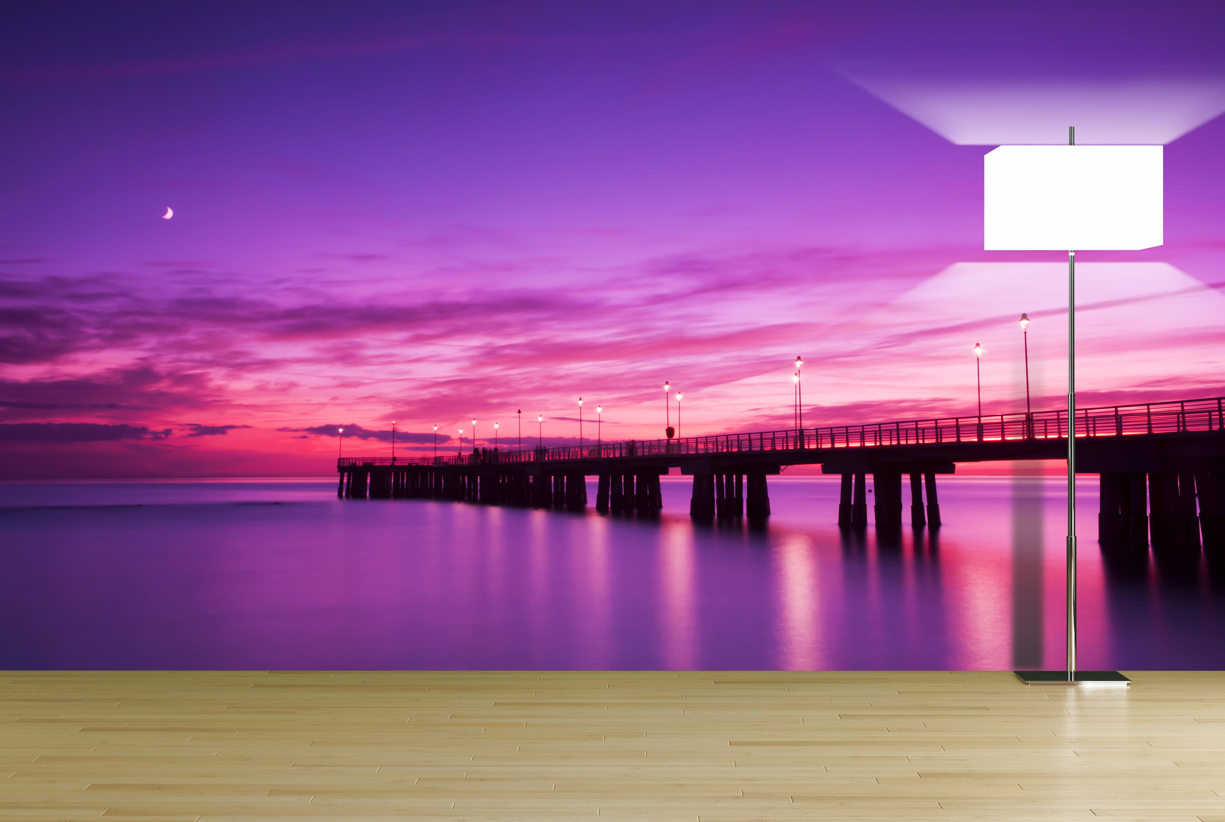 pier at sunset wall mural nature scenes relaxing images on wall murals id=79554