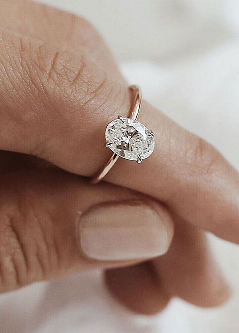 f7f0d677986 Simple and minimalist Oval diamond cut diamond engagement ring tear drop  engagement