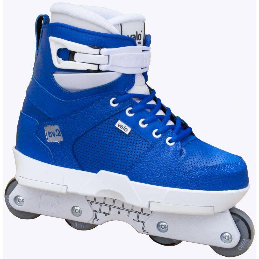 valo tv2 blue white aggressive inline skates excellent. Black Bedroom Furniture Sets. Home Design Ideas