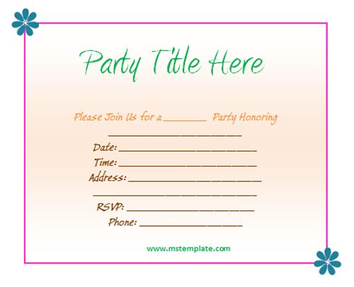 Free Birthday Invitation Templates For Word Template Pinterest