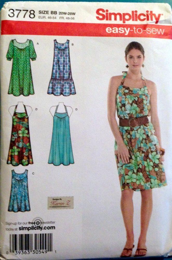 Simplicity 3778 Halter Dress MuuMuu Patio Housecoat Plus 20 22 24 26 ...