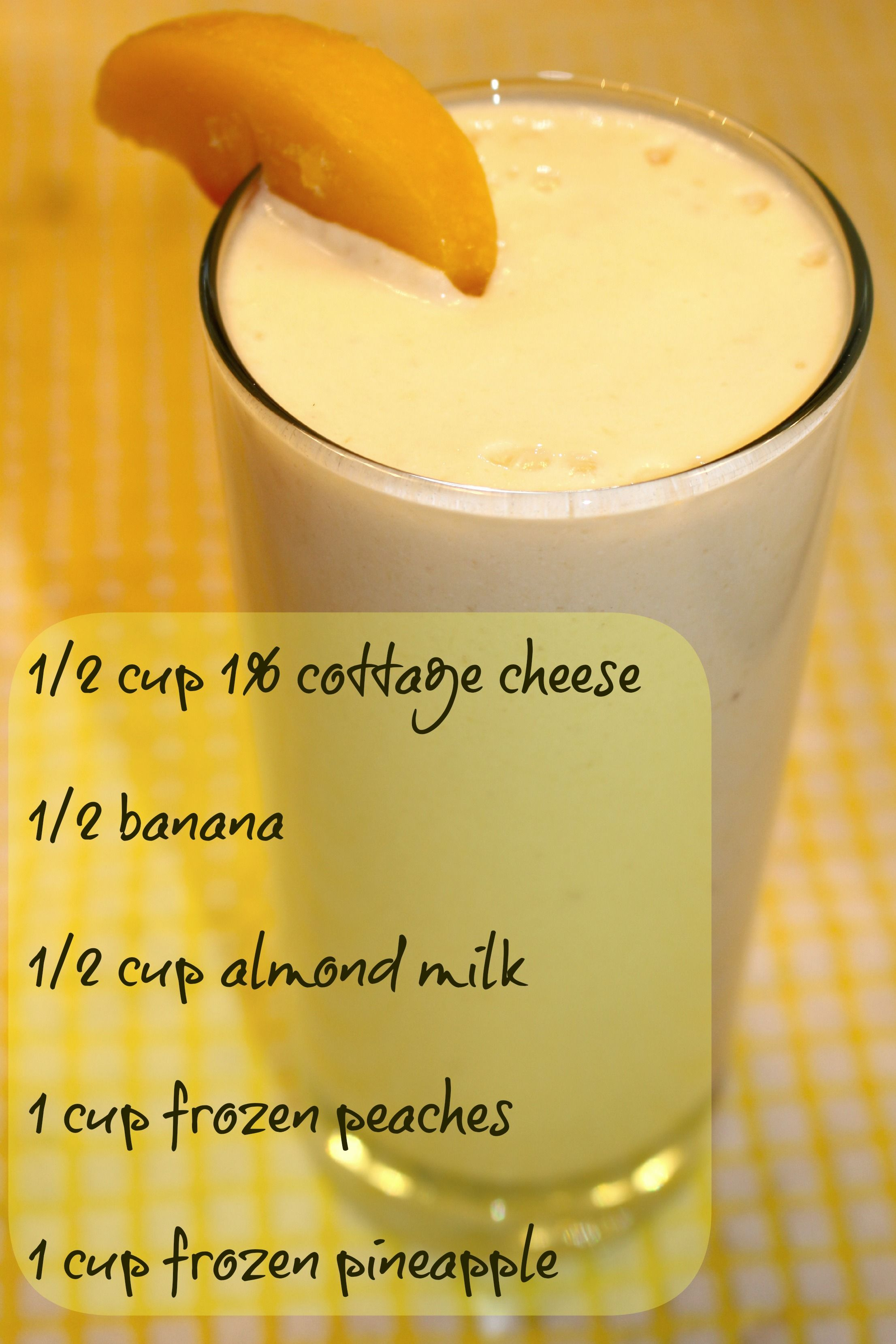 Pineapple Peach Protein Shake made with cottage cheese Protein