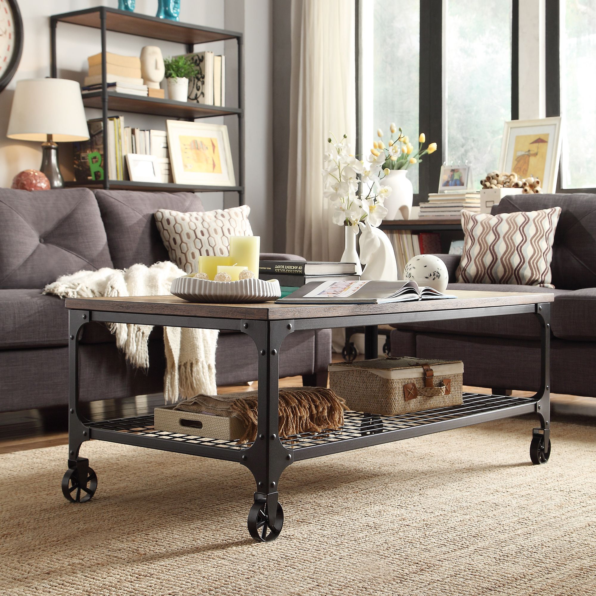 Nelson Industrial Modern Rustic Cocktail Table by iNSPIRE Q Classic by  iNSPIRE Q