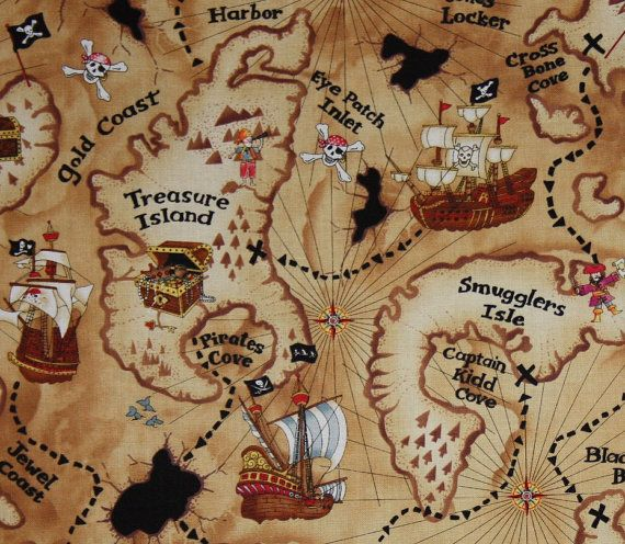 Treasure Map By Timeless Treasure By Layercakesfabric On Etsy 5 05 Pirate Treasure Maps Map Fabric Pirate Maps