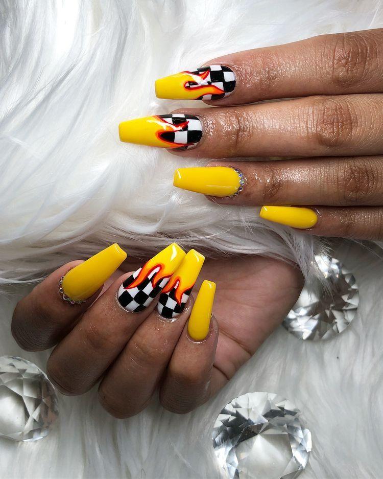 Melaninterest Is Under Construction Checkered Nails Yellow Nails Acrylic Nails