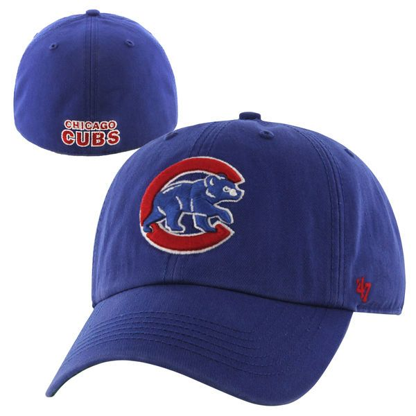 856690e07a3dd Chicago Cubs  47 Brand C-Bear Franchise Fitted Hat – Royal Blue ...