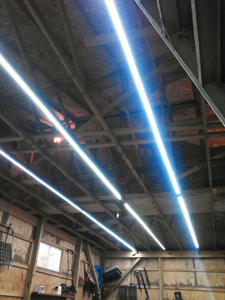 Inexpensive Garage Lights From LED Strips  Lighting  Garage lighting Garage design Diy garage