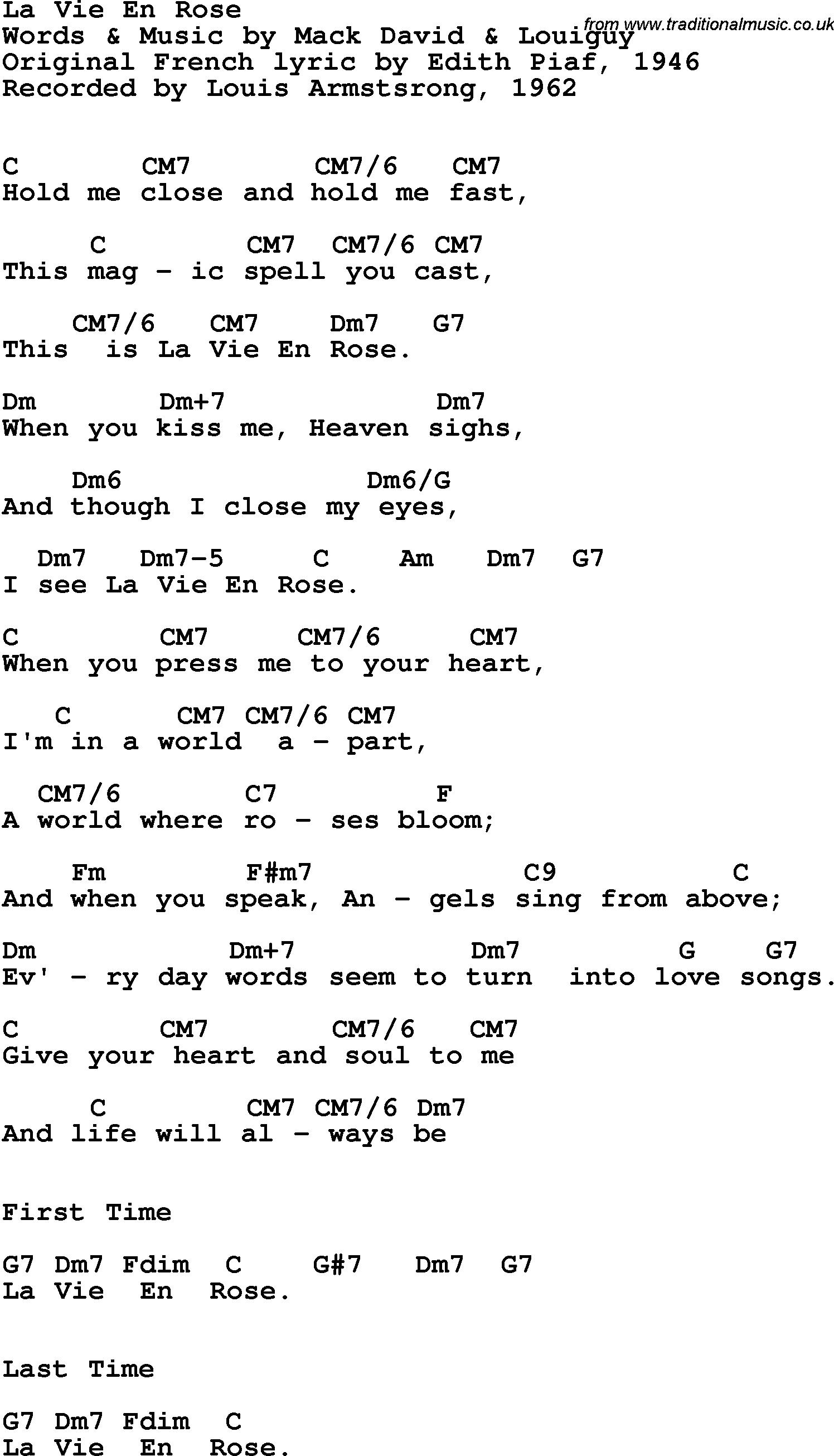 Song Lyrics with guitar chords for La Vie En Rose   Louis ...