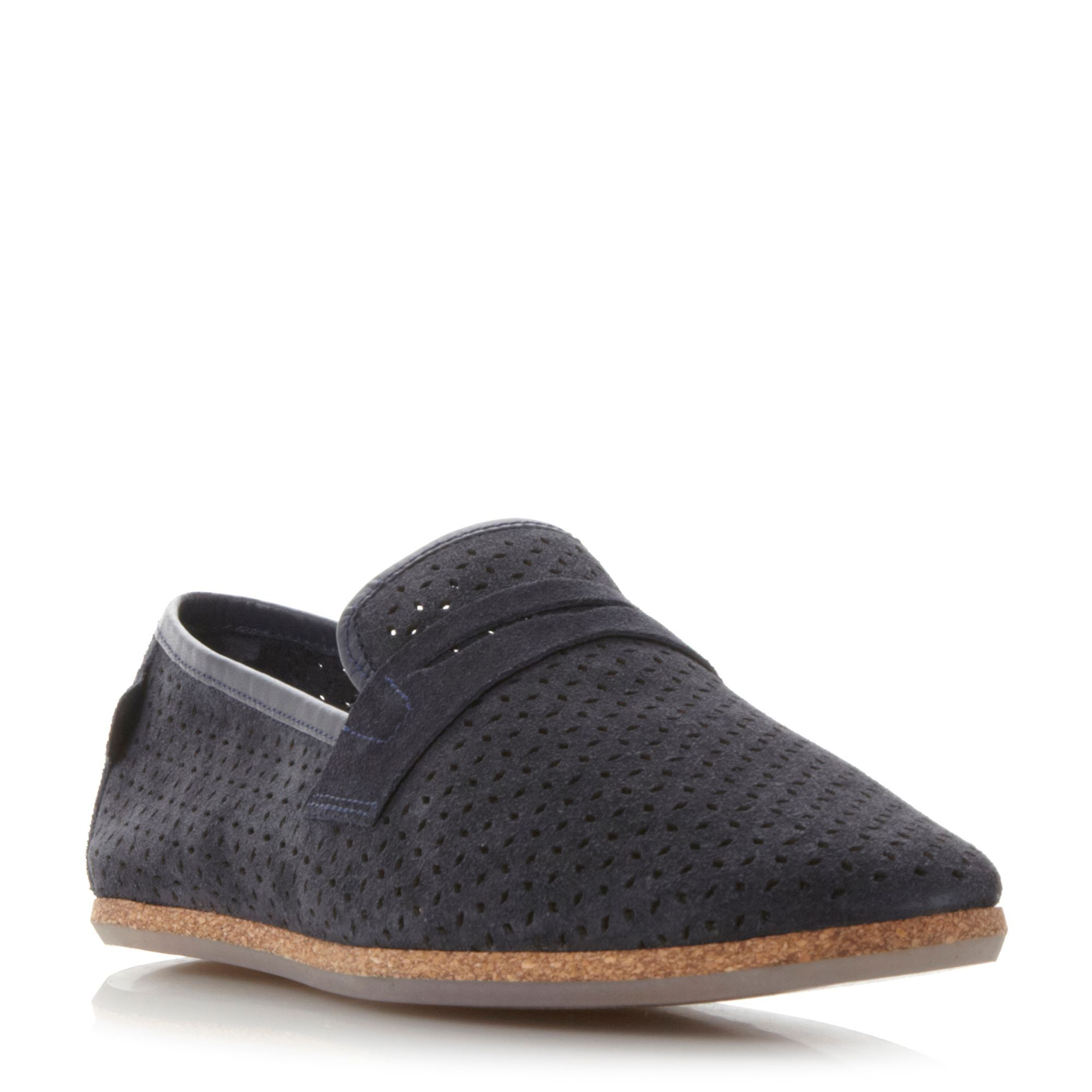 H by Hudson Platt perf suede loafers, Navy