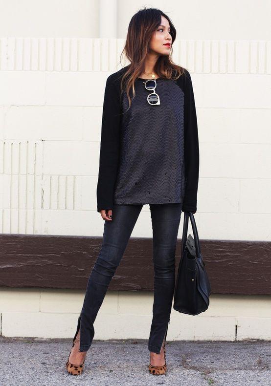 leopard flats and skinny jeans street style pinterest mode l ssige mode und stil. Black Bedroom Furniture Sets. Home Design Ideas