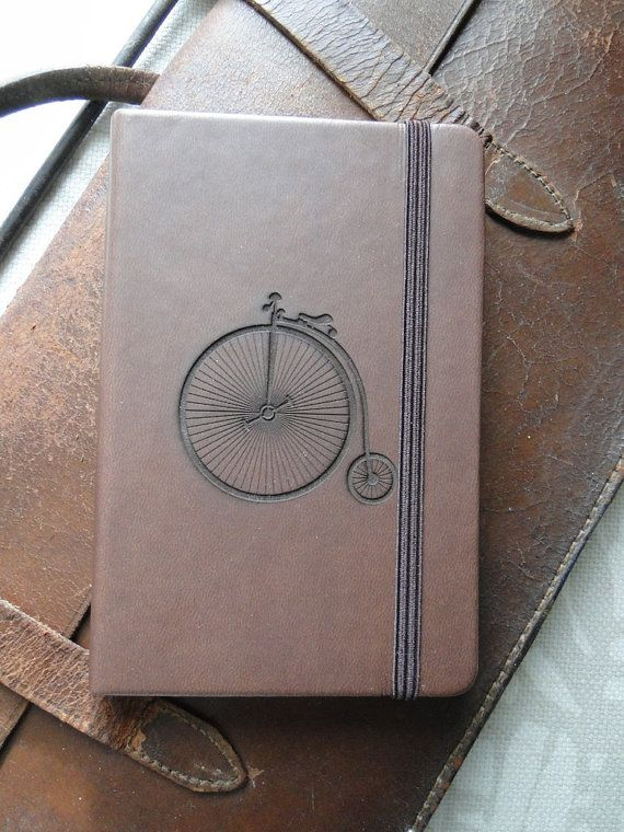 dd6ba3d94 Laser-engraved, Pocket-sized, Notebook with Penny Farthing Bicycle Motif  Grabado,