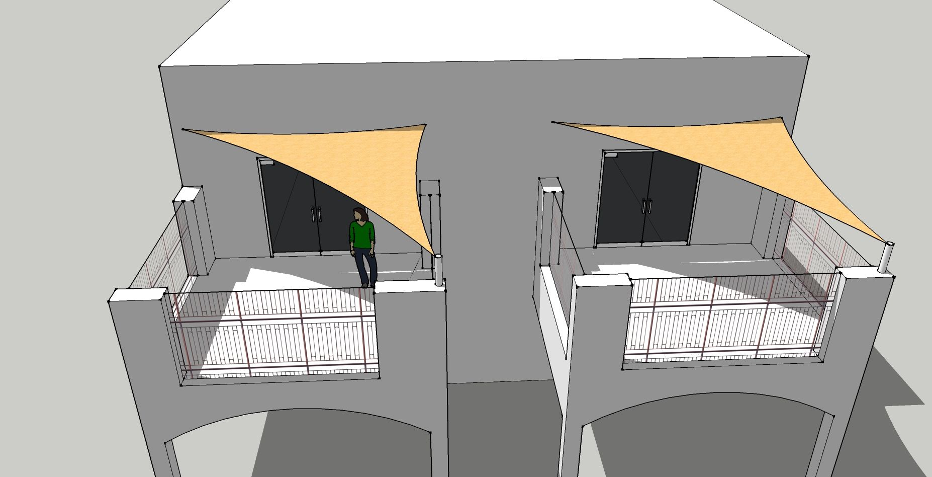 voiles d 39 ombrage sur balcon de condos triangulaires. Black Bedroom Furniture Sets. Home Design Ideas
