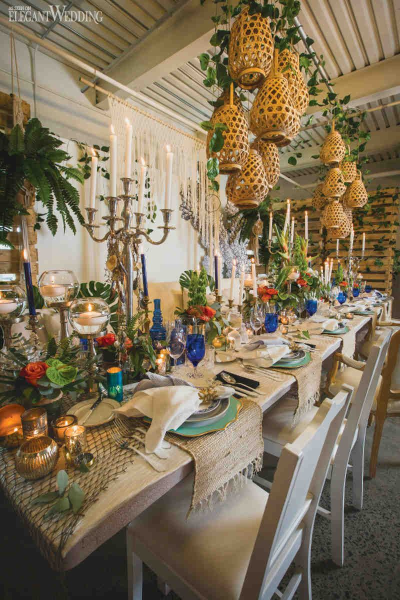 Moroccan Table Setting Coastal Wedding Decor Hanging Lanterns