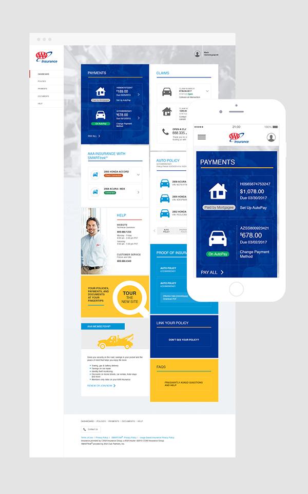 AAA Insurance Self Service Portal on Behance Self