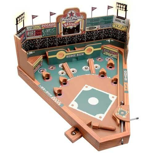 University Games Front Porch Tabletop Wooden Pinball Baseball Game Simple Wooden Baseball Game Toy