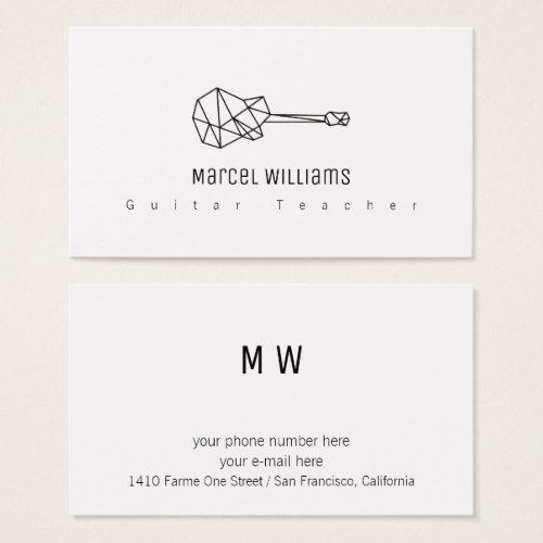 Musician White Business Card With A Guitar Zazzle Com Musician Business Card Music Business Cards White Business Card
