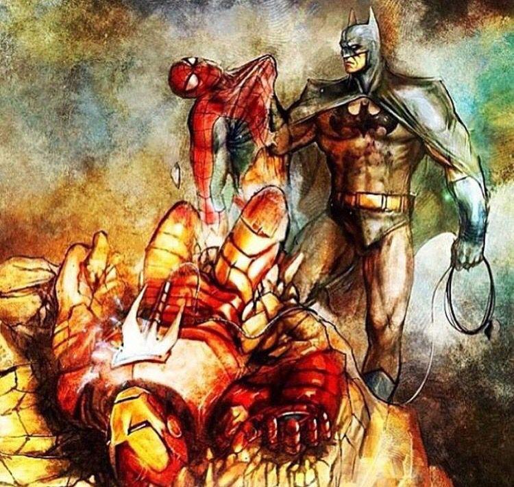 batman vs ironman amp spiderman batman art pinterest