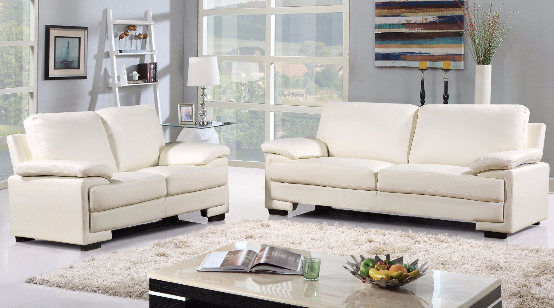 Demetra Modern Bonded Leather And Microfiber Sofa Loveseat Set