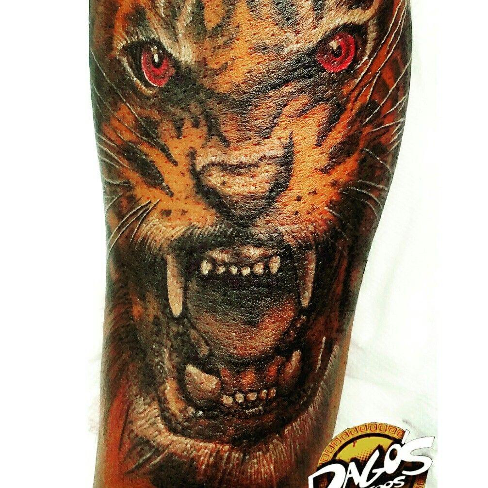 Red eyed Tiger tattoo by Artist David Coronado Bad Tattoos, Tiger Tattoo, Red  Eyes