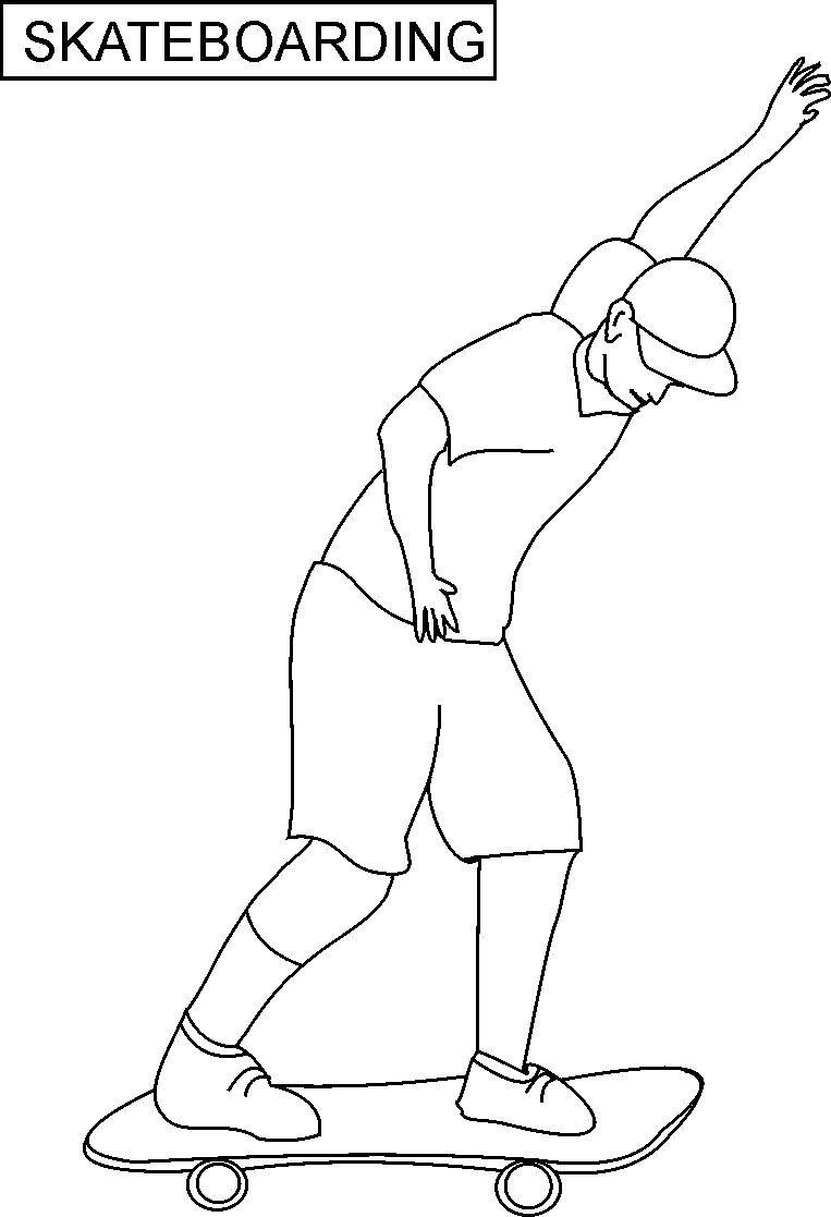 Man Riding a Skateboard coloring page | Free Printable Coloring Pages | 1117x763