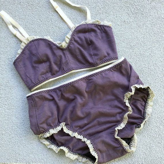 2d702da8b2e45 Wool bralette and panties set - merino wool lingerie - made to order