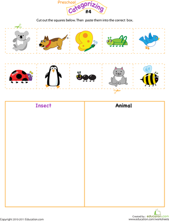 cut and categorize 4 worksheets insects and animal. Black Bedroom Furniture Sets. Home Design Ideas