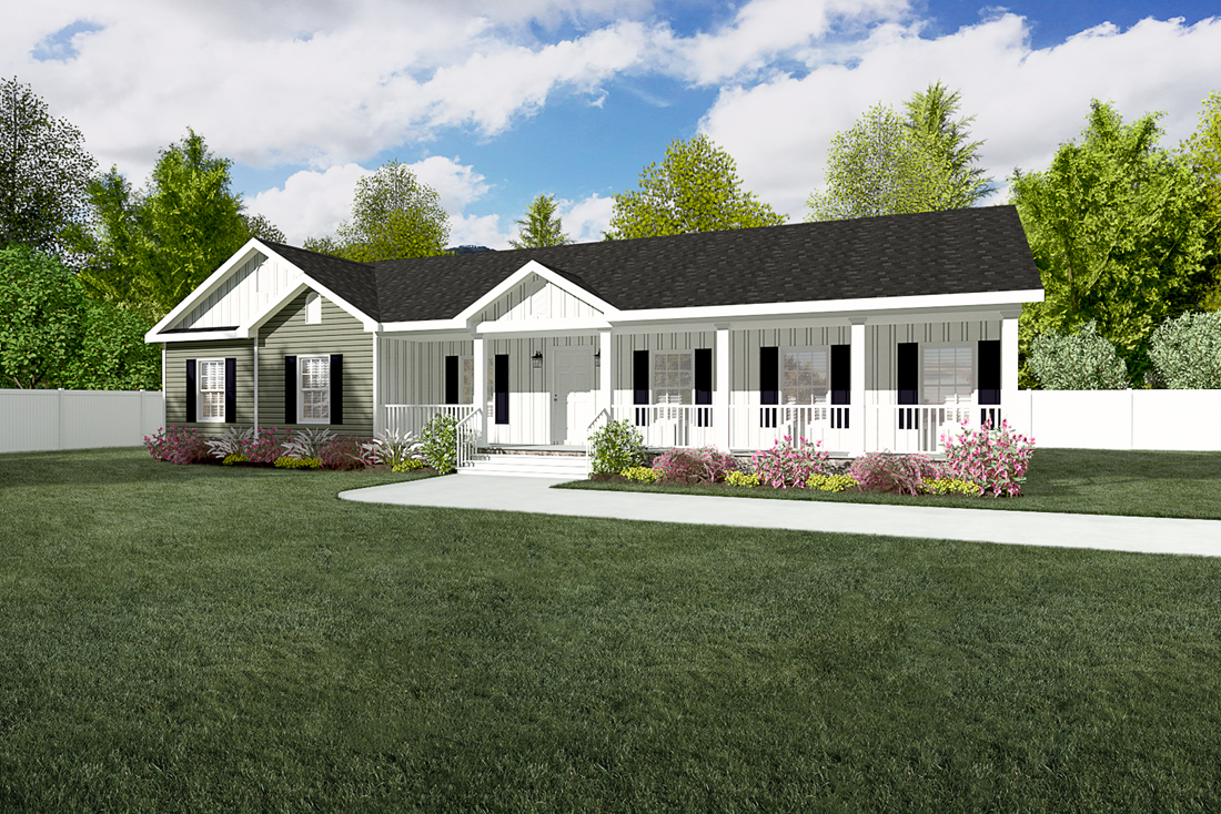 The 2909 Heritage Exterior This Manufactured Mobile Home Features 3 Bedrooms And 2 Baths Ranch House Plans Ranch Style House Plans House Plans