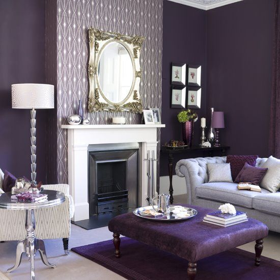 Cool Not Warm Purple Walls Grey Furniture Can Add Warmth With Timber Or Orange Accents Purple Living Room Purple Decor Purple Rooms