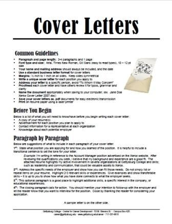 A useful handout about cover letters, courtesy of Gettysburg College ...