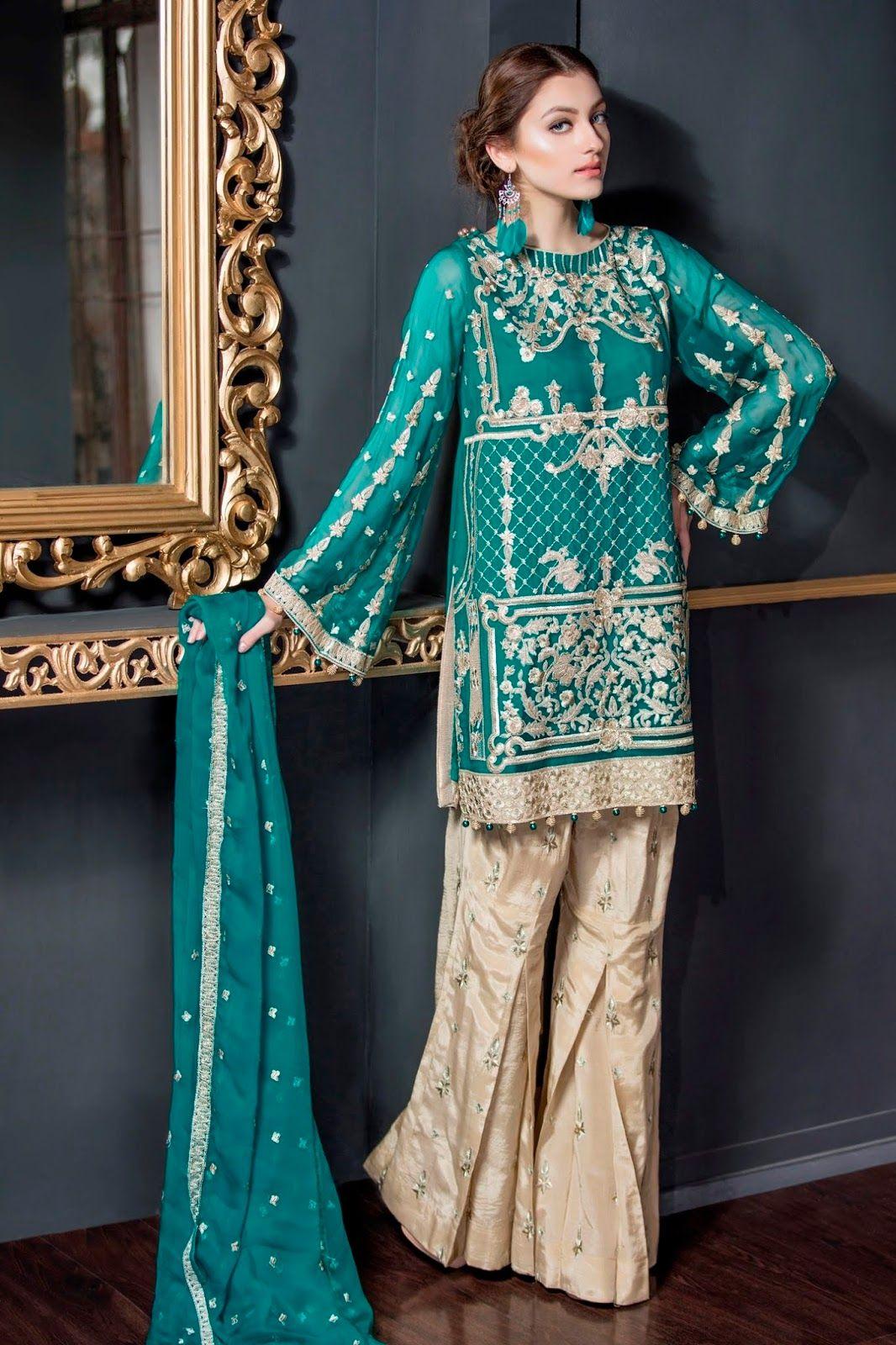 654438900c Maryam n Maria Freesia Chiffon 2018 Volume 2 Collection PRETTY ELEGANT  (FMM-207) with model Neha Rajpoot