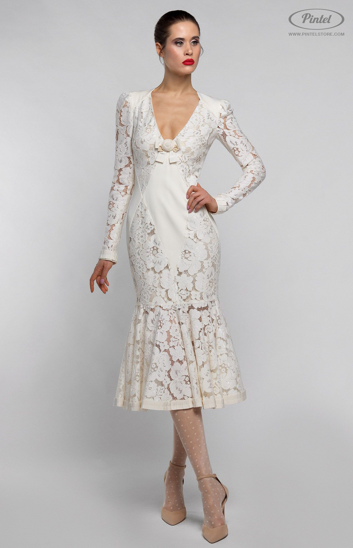 Long Sleeve Slim Fit Midi Dress In Lacy Cotton Finished With Cotton Ribbon Trim And Designer Handmade Rose Decoration W Maxi Dress Cotton Dresses Nice Dresses [ 1861 x 1200 Pixel ]