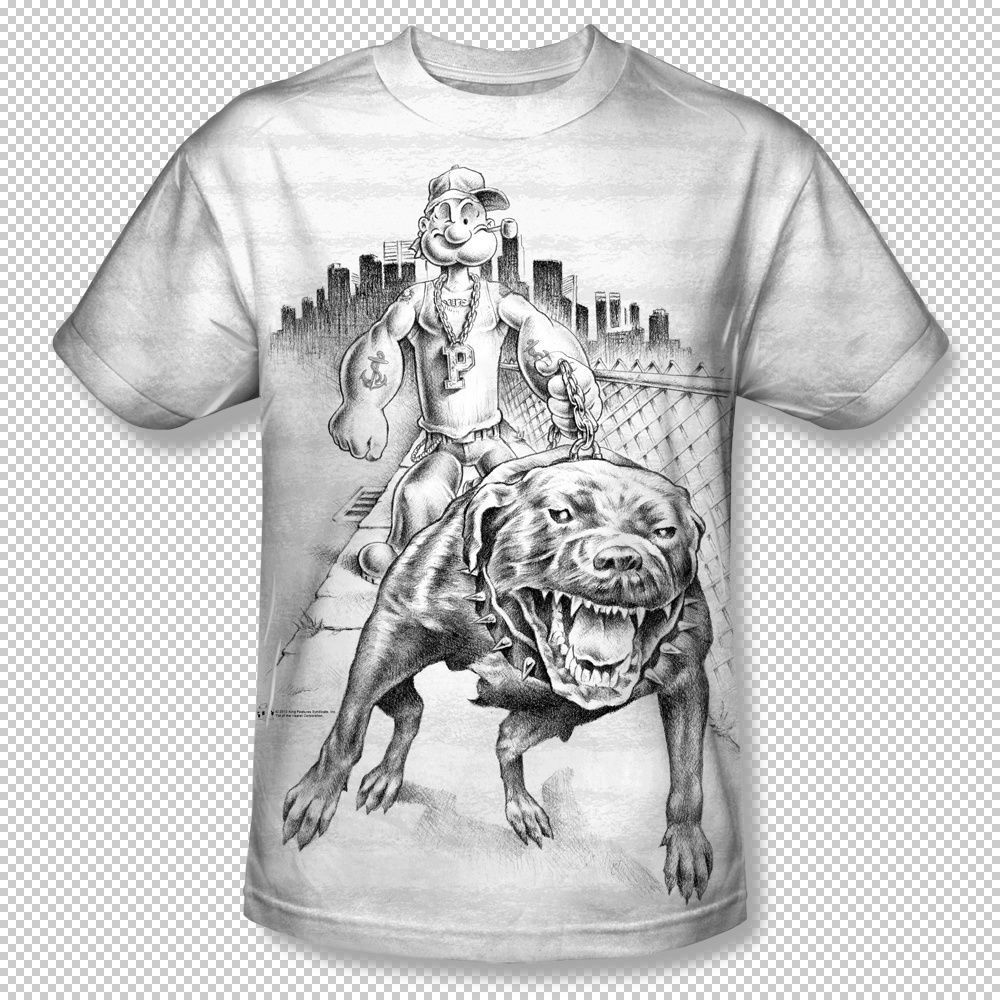 Popeye walking pitbull down the block all over front for T shirt printing exhibition